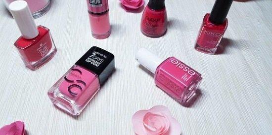 Nagellack - 6 verschiedene Pinktöne auf einem Bild