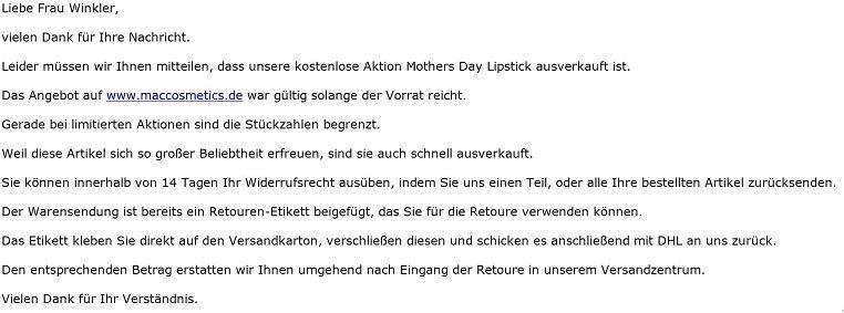 E-Mail MAC - Lipstick Breathing Fire - Aktion abgelaufen, Versand nicht möglich - Mothers Day