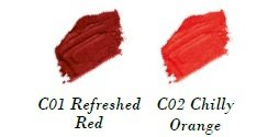 Swatch Bild - Cool & Matt Lip Colour - C01 Refreshed Red + C02 Chilly Orange