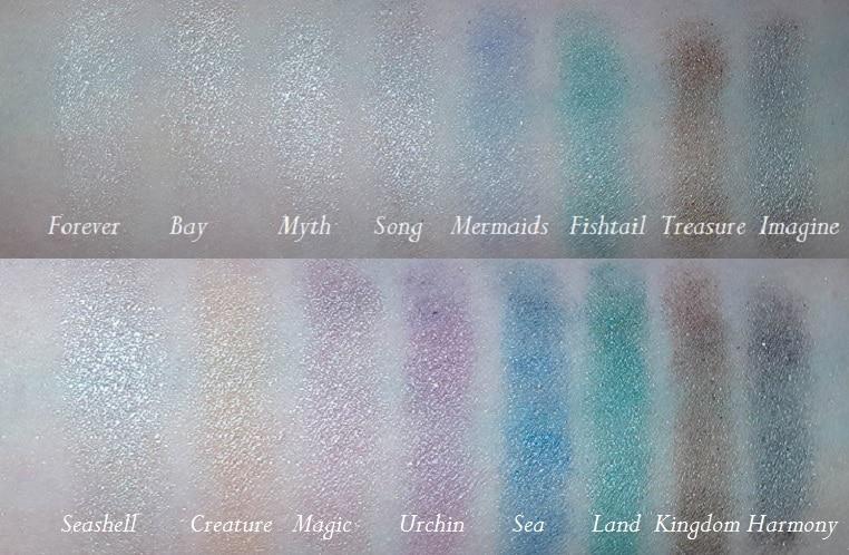 Swatch der ersten beiden Reihen der Mermaid Forever Palette von MakeUp Revolution