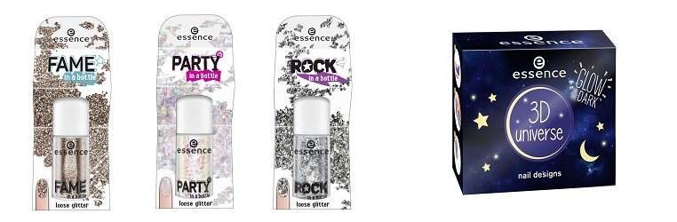 essence Glitzerpartikel party, fame, rock in a bottle + 3D universe nail designs