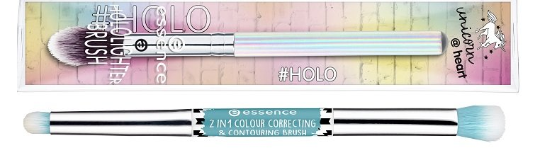 essence 2in1 colour correcting & contouring brush + hololighter brush