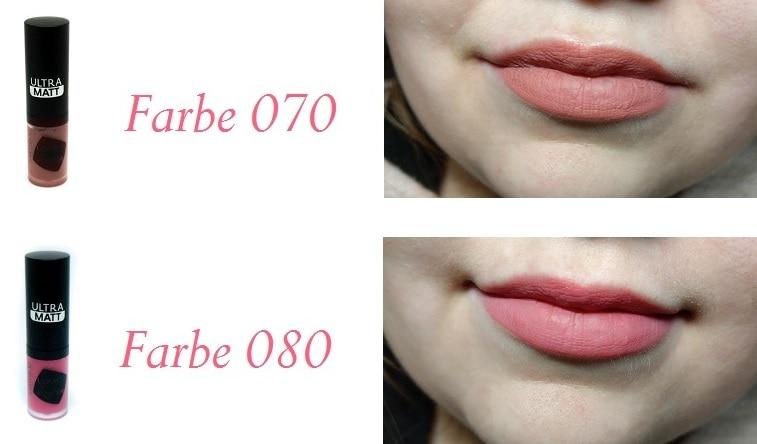 Catrice Liquid Lip Powder Ultra Matt 070 und 080 mit Swatch auf Lippen