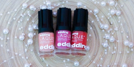 Edding Nagellacke rock it red & Pink Punch & pastel peach Titelbild
