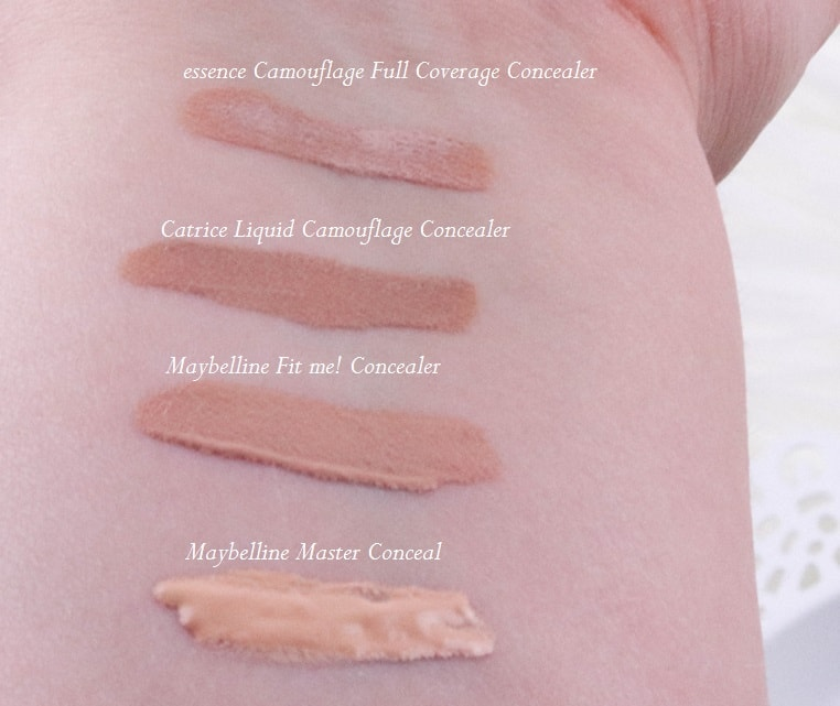 Concealervergleich Swatches Maybelline, Catrice & essence