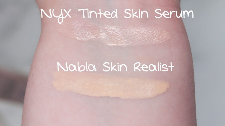 Nabla Skin Realist Tinted Balm vs. NYX Tinted Skin Serum Swatches
